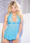 Stretch Mesh & Lace Babydoll With Bow - One Size - Turqoise