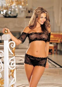 3 Pc. Stretch Lace Set - One Size - Black