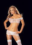 4 Pc. Fishnet Stretch Lace & Suspender Teddy