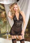 Sheer Stripe Mesh & Stretch Lace Gartered Chemise - One Size - Black