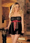 Tie-Front Stretch Lace & Mesh Babydoll - 3x4x - Black/ Red