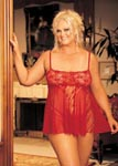 Stretch Lace, Sheet Net, & Lace Panels Babydoll - 1x2x- Red