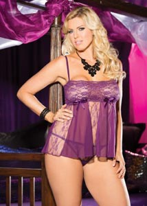 Stretch Lace, Sheet Net, & Lace Panels Babydoll - 1x2x- Purple