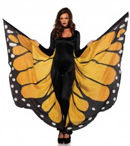 Festival Butterfly Wing Halter Cape - Orange/ Black - One Size