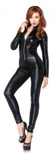 Lamé Zipper Front Catsuit - Large