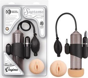 Supreme Vibrating Penis Pump - Vagina - Black