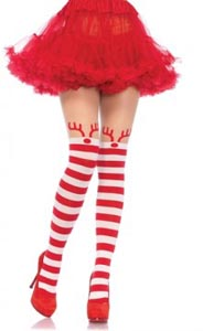 Rudolph Reindeer Opaque Striped Pantyhose With Sheer Thigh High Accent