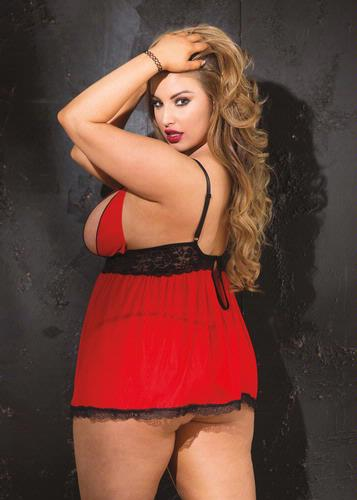 Stretch Knit & Stretch Lace Split Cup Baby Doll - Red - Black - Queen Size