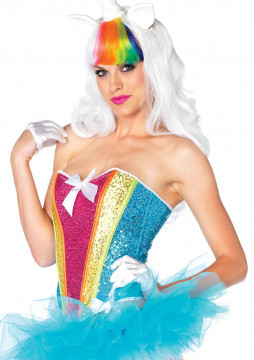 Rainbow Sequin Corset - Small