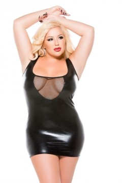 Kitten Plus Fishnet and Wet Look Tank Dress - One Size Plus Size