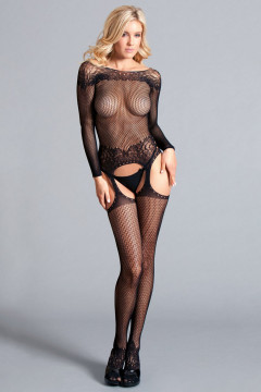 Long Sleeved Suspender Bodystocking W / Scooped  Back - One Size - Black