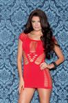Cap Sleeve Seamless Chemise - Red - Queen